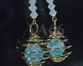 White Moonstone Opalite Opal in Cage and Swarovski Crystal White Opal Earrings Caged Moonstone for Bridal Party, Party Favors, Bridesmaids