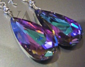 Bridal 925 Sterling Silver VL Vitrail Light Baroque Swarovski Crystal Earrings Wire Wrap 6100 Pear Teardrop Choose Color Bridesmaids, MOB
