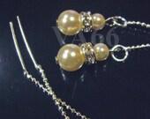 Diamond Swarovski Pearl Threader Earrings with Rhinestone Rondelles Choose Color Bride, Birthday Gift, Bridal Shower, Bridesmaids