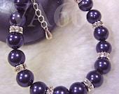 Childrens Size 1 Bracelet Dark Purple Swarovski Pearl n Diamond Rhinestone Rondelles Vintage Classic Bridal 925 Sterling Silver Flower Girl