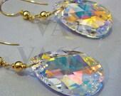 14KGF Wire Wrapped 6106 Swarovski Teardrop Pear Drop Shape 22mm Crystal AB Earrings Bridal Bridal Shower, Birthday Present, Bride, MOB