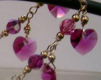 14K Gold Swarovski Bridal Charm Bracelet Suasa Love Heart U choose Colors Bridesmaids, MOB, Flower Girl, Prom 925 Silver