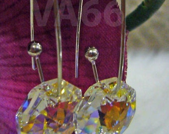 Handmade Swarovski Crystal Octagon 8116 Earrings Color Choices, Bridal Bridesmaid sets, Dangle, Chandeliers, MOB. birdal party, prom