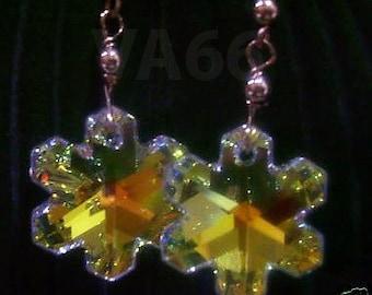 14K Gold Filled Swarovski Crystal Snowflake Present 925 Sterling Silver Gift, Birthday, Christmas, Bridal, Bridesmaid, Prom, Present