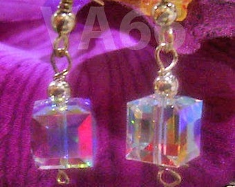 14K Gold Filled Swarovski Crystal Cube Earrings wire wrap Color Choices, Custom made 925 silver Bridal Bridesmaids, mob, gift, birthday