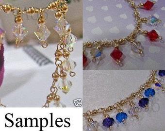 14K Gold Fill Swarovski Charm Necklace 925 Silver Choose Cols weddings, bridal, bridesmaids, bride, MOB, Prom