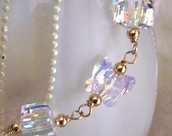 12 Colors 14K Gold Swarovski Crystal Bracelet Butterfly and Cube Crystals bridal, mother, bridesmaids, prom, birthday gift