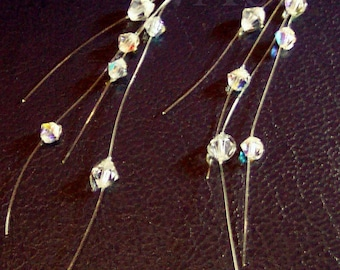 Wisps of Floating Crystals in the Air Illusion Earrings Many Colour Choices, Bridesmaids, Bride, MOB, Flower Girl, Christmas, Birthday, Prom