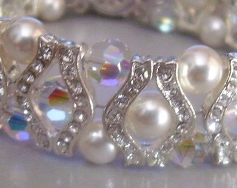 White 18KGP Diamond Swarovski Crystal n Pearl Bracelet 27 Colour Choices Bridal, bride, bridesmaids, MOB