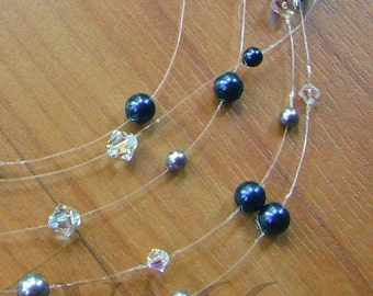 5 Strand Illusion Necklace Wisps of Floating Swarovski Crystals n Pearls in the Air Colour Choices Bridesmaids, Bride, MOB, Prom, Christmas
