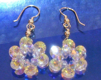 925 Silver or 14K Gold Swarovski Crystal Flower Motif Earrings 24 Color Choices Wire Wrapped bridal, mob, bridesmaids, prom, birthday gift