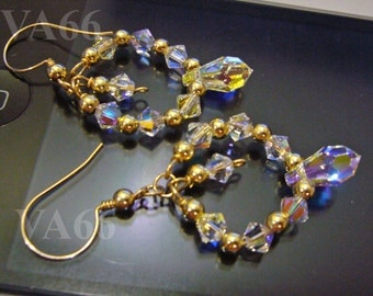 14KGF Swarovski Teardrop Hoop Hoopies Crystal Earrings Bridal Earrings for Bridal Shower, Birthday Present, MOB, Bride