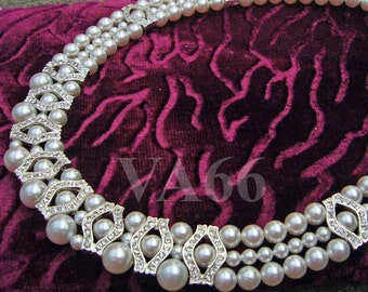 Bridal 18KGP Rhinestone Diamond look Swarovski Pearl Necklace 6mm, 4mm. 8mm 27 Color Choices Wedding, Bride, Bridemaid,