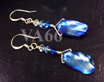 925 Sterling Silver Natural Japanese Blue Pearl Baroque Shape Wire Wrapped Earrings n Swarovski Crystals Bride, Bridesmaid, MOB, Gift