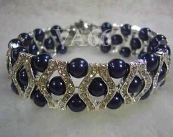 Bridal Something Blue 27 Color Choices 18KGP Rhinestone Swarovski Pearl Bracelet 6mm Navy Blue, Bride, Bridesmaids, Flower girl