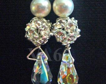 Earrings Bridal 925 Sterling Silver Swarovski Single White Pearl Teardrop Rhinestone Fireball Wire Wrapped 27 Colors for Bride, Bridesmaids