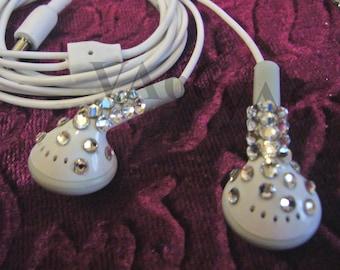 Bling Bling Studded White Ear Buds Swarovski Flatback studs on Ear phones listening to Music Apple Look Alike Ear Buds Party Favors