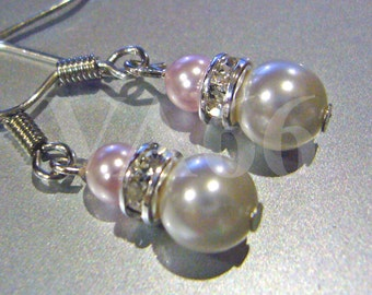 Diamond Swarovski Pearl Earrings 27 Col Choices, Bridesmaids, Bridal, Bride, MOB, Prom, Party,