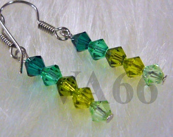 Green shades Swarovski Bicone Earrings Choose Cols bridal, bridesmaids, flower girl, MOB, Prom, Birthday