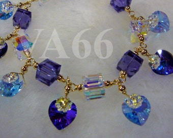 Blue n Purple 14K Gold Filled Swarovski Crystal Cube Love Charm Bracelet 24 Color Choices 925 Silver choice, Bridesmaids, MOB, Gift, Prom