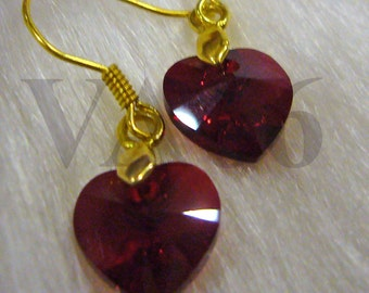 Gold Earrings Swarovski Heart Love Shape Earrings 23 Colours Bridal Bridesmaids MOB Birthday Gift
