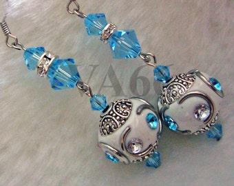 White Aqua Blue Earrings Weddings Bridal Aquamarine Swarovski Crystals Diamante Wedding, Something Blue Chandelier Vintage Bridesmaids, Gift