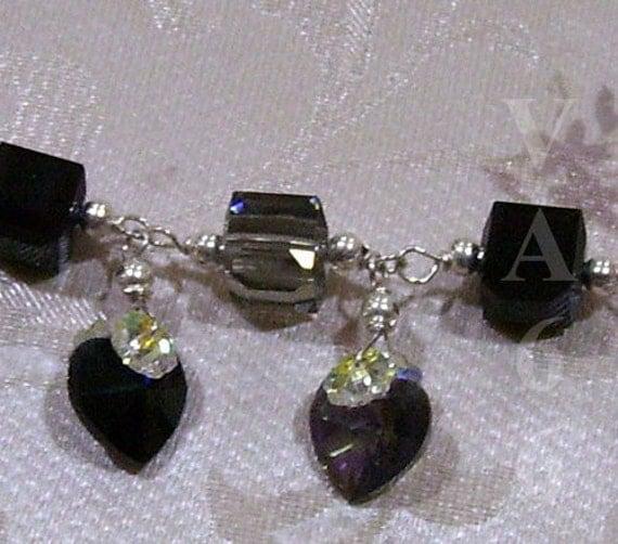 24 Color Choices 925 Sterling Silver Swarovski Crystal Bracelet Cube Swarovski heart love, bridal, bridesmaids, MOB, ring bearer, bride