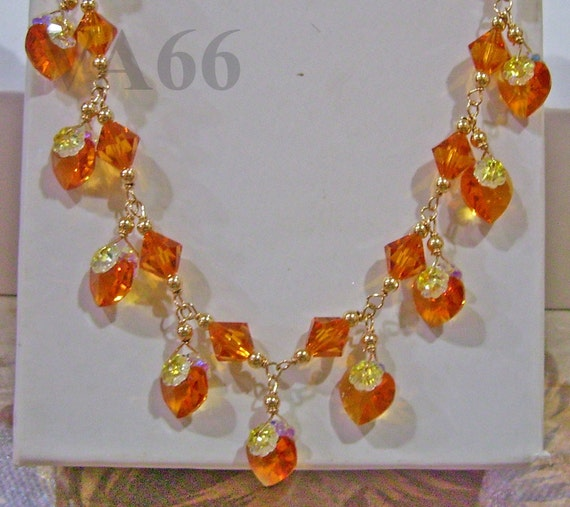 14K Gold Swarovski Necklace Love Heart n Bicone Bridal Topaz or Choose Cols