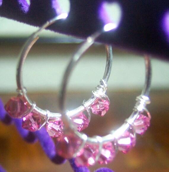 925 Silver Swarovski Crystal Earrings Hoopies Hoops 20mm Hoopsies, Crystal hoops Bridesmaids, MOB, prom, plus size