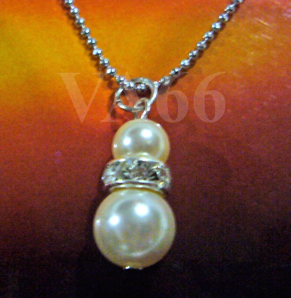 1 Diamond Swarovski Crystal Pearl Chain Necklace Nekclaces 18KGP Col Choices Bridal