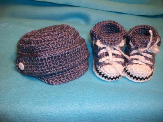 Denim Newsboy Newborn Cap and Matching Baby Chucks
