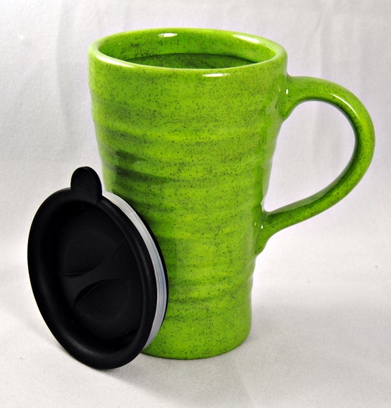Bright Green Travel Mug with a lid