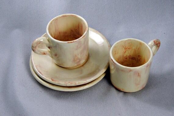 Ceramic Espresso Cups with Saucers