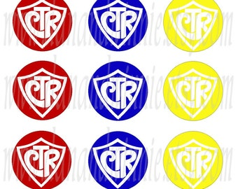 CTR Red, Royal Blue, Yellow 1 inch round circle digital images for bottle caps, scrapbooking, tags 4X6 digital graphics collage sheet