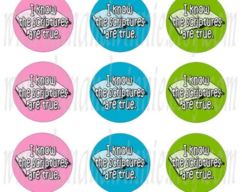 I Know The Scriptures Are True pstels CIRCLES for bottle caps, scrapbooking, tags 4X6 digital graphics collage sheet