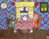 Tea Kitties - For Owners of Sophisticated Felines, Original Kitty Cat Art