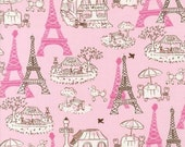Vive La France Paris Eiffel Tower Pink POODLE Fabric RK