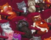 Hilarious Movie Theater Cinema Going Scaredy Kitty Cat Cats Popcorn Fabric TT