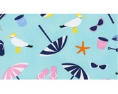 Dear Stella It's A Shore Thing Fabric Beach Balls Umbrellas Seagulls Star Fish On Aqua