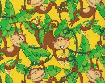 Forest Vine Tree Monkeys Fabric Yellow Jungle Animal by Timeless Treasures