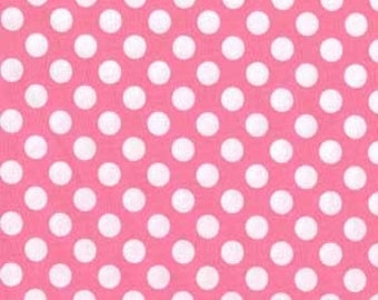 Ta Dot Candy white on Pink Polka Dots Fabric M Miller