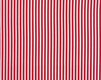 Stripes Stripe Fabric Red White Narrow 8 per inch Holiday Candy Cane Xmas TT