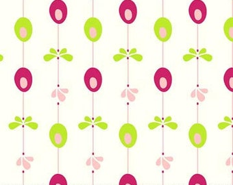 PinFeathers Stripe Pink and Green Vine Flowers Fabric Dots