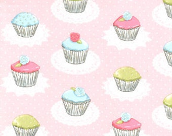 oop htf remnant 18 x 25 in Sweet Birthday Party Pink Glitter quaint Cupcakes Girly Fabric White Swiss Polka Dots Michael Miller