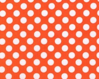 Ta Dot Polka Fabric Orange and White Michael Miller Tangerine Dots