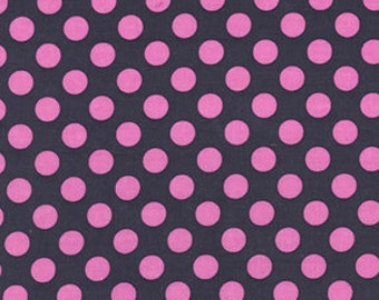 Ta Dot .5 half inch Polka Dots Fabric Michael Miller Gray Hot Shocking Pink