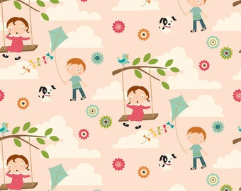 OOP HTF 22 inches Riley Blake October Afternoon Fly a Kite Fabric Whimsical Kids Dogs in The Park Tree Swing Kites on Pink