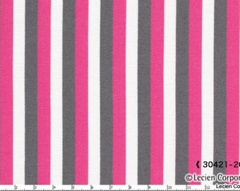 Hot Pink Gray White Striped Lecien Fabric Stripes .25 quarter inch wide