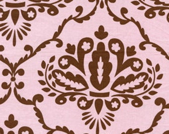 OOP HTF 23 inches Leanika Fabric Pink and Brown Large Leaf Vine Damask
