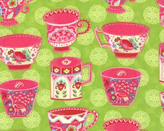 OOP HTF 21 inches MODA Tradewinds Fabric Tea Party Cups Hot Pink Cup on Malabar Lime Green 452 15